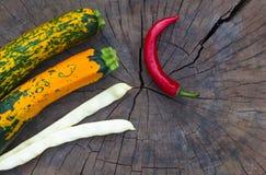 цукини Зелен-апельсина, стручки белых фасолей и красные чили Стоковые Изображения