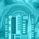 Цунами и город иллюстрация штока