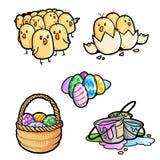 Цыпленоки и пасхальные яйца Стоковая Фотография RF