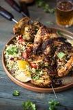 Цыпленок барбекю Chimichurri с пряным салатом риса стоковое изображение rf
