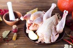 Цыпленок в плите с специями яблоком и апельсином на деревянном столе стоковое фото rf