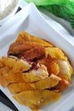 цыпленок зажарил в духовке посолено стоковое изображение