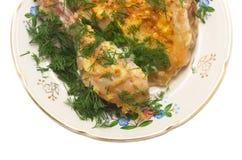 цыпленок зажарил изолировано Стоковая Фотография
