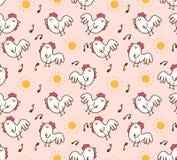 Цыпленок мультфильма в картине утра безшовной иллюстрация штока