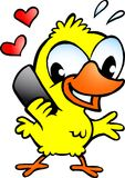 Цыпленок тот говорить на мобильном телефоне Стоковые Фото