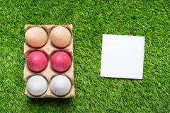 Цыпленок eggs в подносе картона на зеленой траве Стоковое Фото