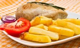 цыпленок fillets французский томат fries Стоковое Изображение
