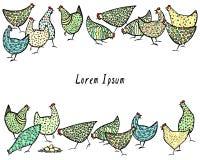 Цыплята нарисованные рукой Стоковая Фотография