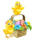 Цыпленоки шаржа и корзина пасхальных яя иллюстрация вектора