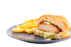 цыпленок бургера кудрявый Стоковая Фотография RF