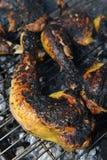 Цыпленок варя на гриле барбекю, конце-вверх Стоковые Фото