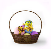 Цыпленок в пасхальном яйце в корзине 3d представляют Стоковое Изображение RF