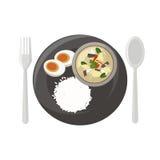 Цыпленок в супе молока кокоса Иллюстрация штока