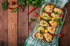 Цыпленок заполненных перцев семенить Стоковая Фотография RF