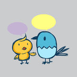 Цыпленок и друг шаржа Стоковые Изображения