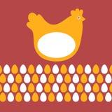 Цыпленок и яичка карточки пасхи Стоковая Фотография RF