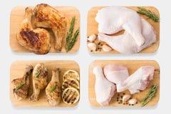 Цыпленок модель-макета сырцовый и зажаренный цыпленок на комплекте разделочной доски Стоковые Фото