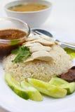 Цыпленок пара с рисом. Стоковые Изображения