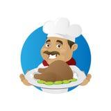 Цыпленок сервировки шеф-повара Стоковые Фотографии RF