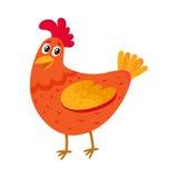 Цыпленок смешного шаржа красный, курица стоя и усмехаясь счастливо иллюстрация штока
