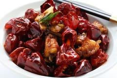 Цыпленок с перцами chili Сычуань Стоковое Изображение