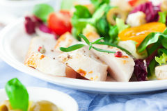 цыпленок шара предпосылки изолировал белизну салата риса частей персика петрушки Стоковое фото RF