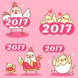 Цыпленок шаржа с китайским Новым Годом Стоковое фото RF