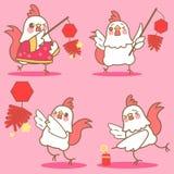 Цыпленок шаржа с фейерверком Стоковая Фотография