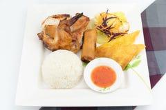 Цыпленок BBQ с рисом пара Стоковые Фотографии RF