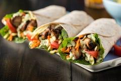 Цыпленок BBQ с свежими обручами tortilla салата Стоковое Фото