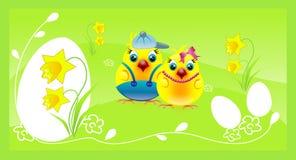 Цыплята соединяют на счастливой зеленой предпосылке пасхи Стоковое Изображение RF