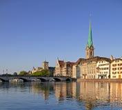 Цюрих, дама Монастырская церковь Собор Стоковая Фотография