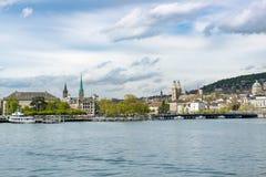 Цюрих увиденный от озера Цюриха Стоковое Фото