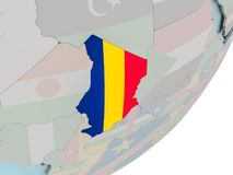 Чад на глобусе с флагами Стоковые Фото