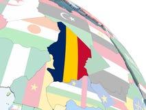 Чад с флагом на глобусе бесплатная иллюстрация