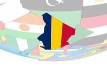 Чад с флагом на глобусе иллюстрация штока