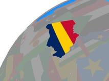 Чад с флагом на глобусе иллюстрация вектора