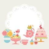 Чаепитие пасхи бесплатная иллюстрация
