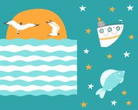 Чайки летают на заход солнца с кораблем и рыбами иллюстрация штока