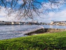 Чайки над рекой, запрудой Athlone в предпосылке Стоковые Изображения