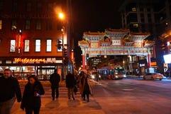 Чайна-таун на ноче в DC Вашингтона Стоковое Изображение