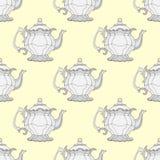 Чайники иллюстрации Безшовная картина с чайниками Стоковое фото RF