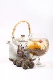 чайник зеленого чая цветка стеклянный Стоковая Фотография RF