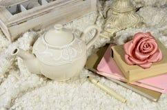 Чайник и книги Стоковое Изображение