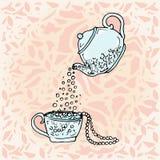 Чайник и чашка иллюстрации чертеж детей милый Стоковое Изображение RF