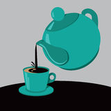 Чайник и чашка чаю или кофе Стоковое Фото