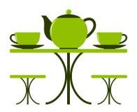 Чайник и чашки чаю Стоковые Изображения