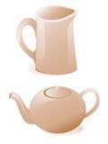 чайник молока кувшина Иллюстрация штока