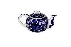 Чайник сделанный из красивых голубых плиток Стоковые Изображения RF