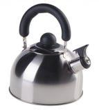 Чайник с свистком на белой предпосылке Стоковые Изображения